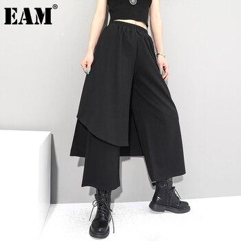 [EAM] High Elastic Waist Black Irregular Long Wide Leg Trousers New Loose Fit Pants Women Fashion Tide Spring Autumn 2021 1Z289 - discount item  33% OFF Pants & Capris