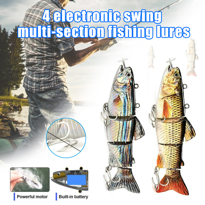 Nouvellement électrique leurre de pêche Wobblers 4 segement Swimbait USB Rechargeable appât artificiel BN99