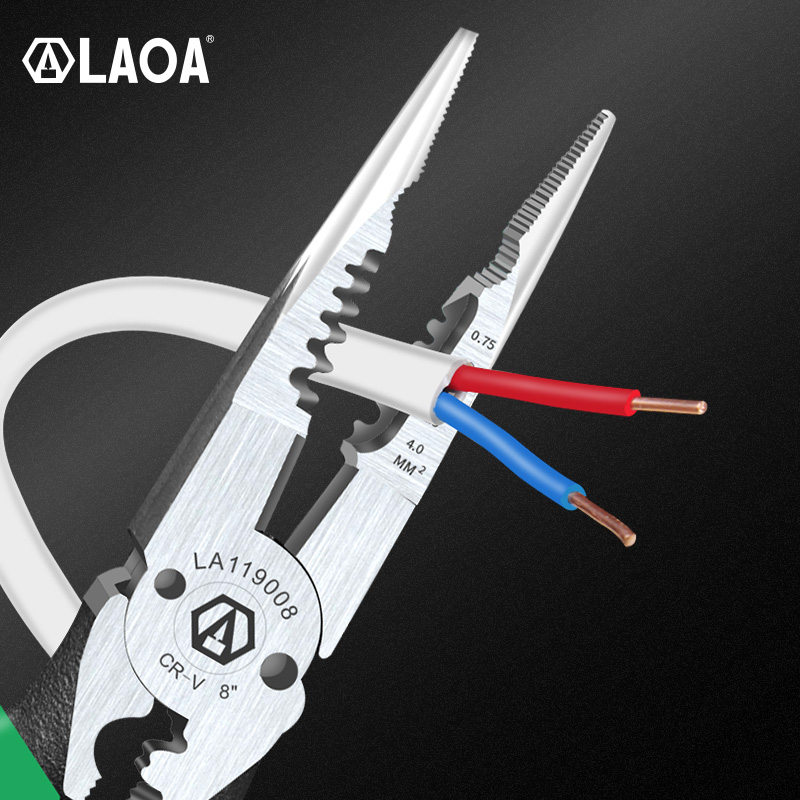 LAOA  Multi Pliers Wire Stripper 0.7-4.0mm Range 8 Inch Cr-V Crimping  Tool 6 In 1 Long Nose Needle-nose Pliers Wire Cutter