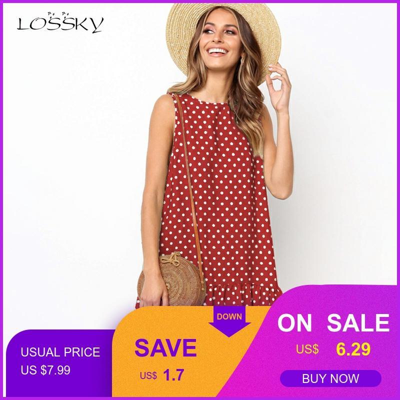 Lossky Women Summer Dress Polka Dot Chiffon Sleeveless Beach Mini Casual Yellow Sundress 2020 Plus Size Dress For Women Red