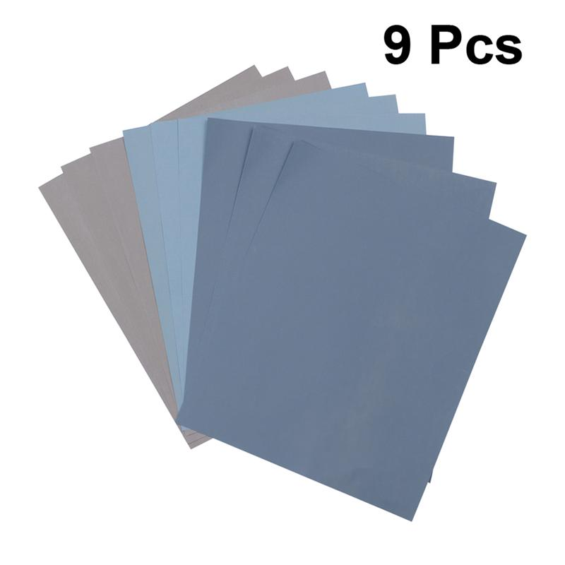 9pcs Sandpaper Assorted Dry Wet Abrasive Sand Paper For Wood Metal Automotive Sanding Furniture And Wood Turning Finishing