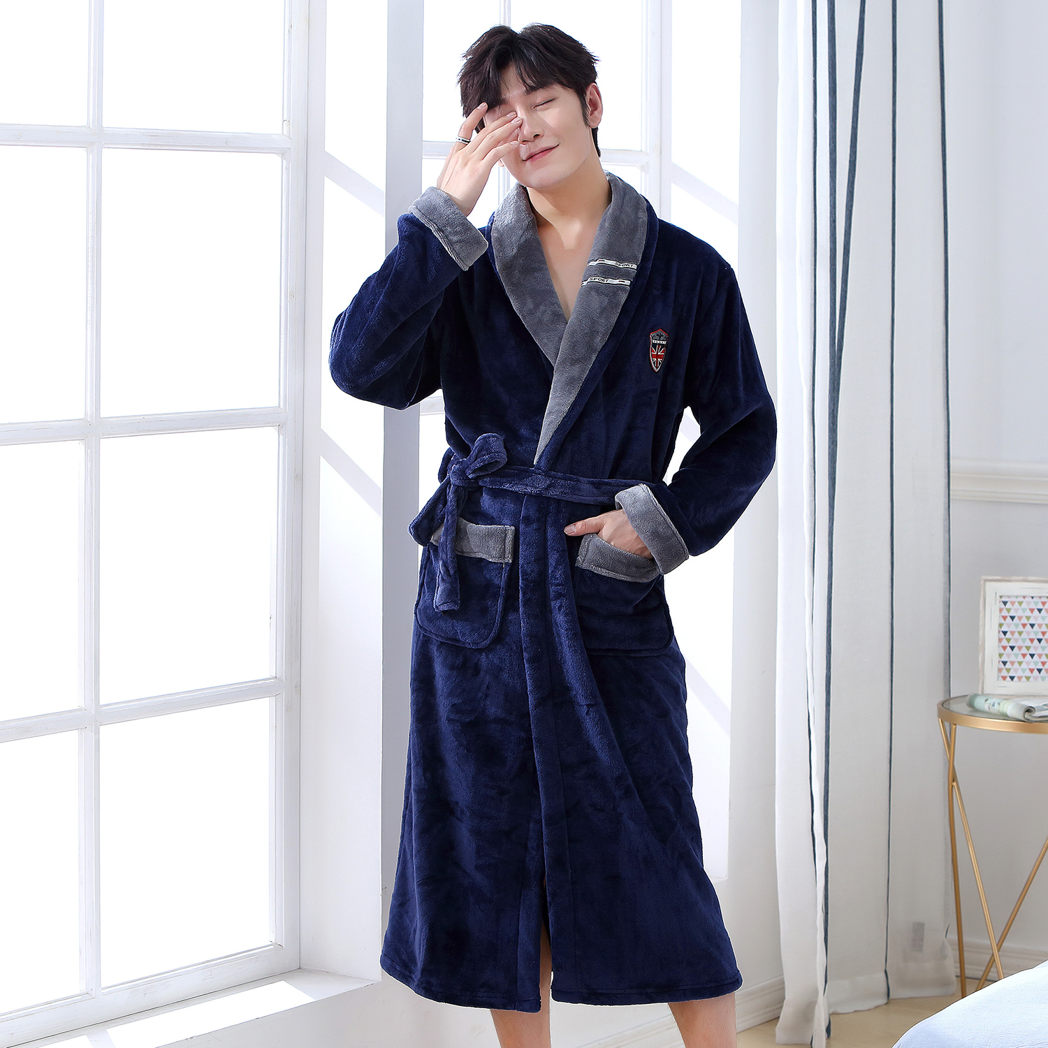 Winter Navy Blue Flannel Men Homewear Kimono Robe Gown Comfortable Keep Warm Sleepwear Nightgown Cxasual Soft Intimate Pajamas