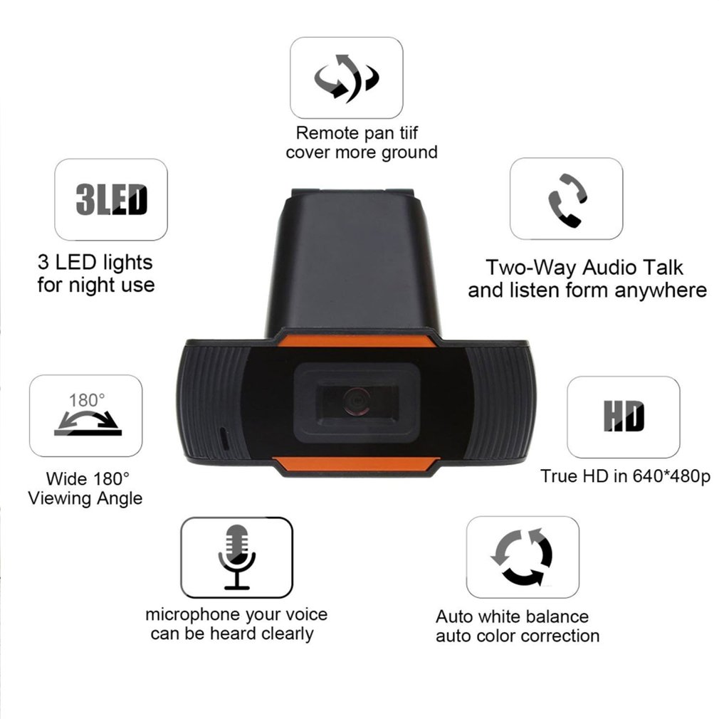 Hot Sale 30 degrees rotatable 2.0 HD Webcam 1080p USB Camera Video Recording Web Camera with Microphone For PC Computer 4