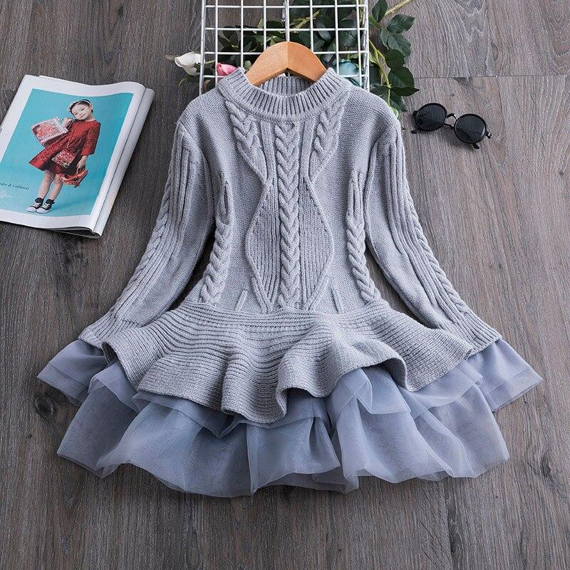 Hba4e685713024ed8b3caa8adb04315c6C Xmas Winter Autumn Girl Dress Children Clothes Kids Dresses For Girls Party Dress Long Sleeve Knitted Sweater Toddler Girl Dress