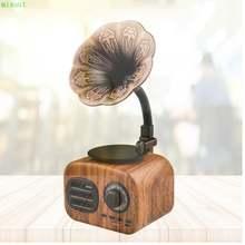 Деревянная портативная Мини bluetooth Колонка в стиле ретро