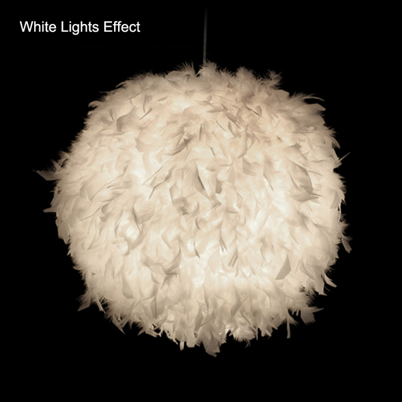 Abajur Lamp Shade Unique White Feather Ball Lighting Chandelier Household Romantic Feather Chandelier Home Improvement 220V
