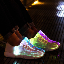 Size25-46 Fiber Optic Fabric Light Up Shoes 11 Colors Flashing Teenager Girls&Boys USB Rechargeable