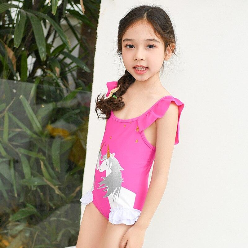 2019 South Korea New Style Girls Children Rose-red Swimwear Playful Frilled Triangular One-piece Swimming Suit Children Baby GIR