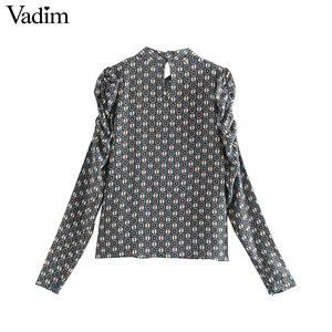 Image 2 - Vadim נשים הדפסת בציר חולצה ארוך פאף שרוול ציפר לקשט משרד ללבוש חולצות נקבה מקרית שיק בסיסי צמרות blusas LB717
