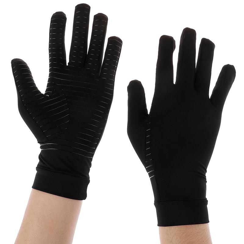 Женские и мужские компрессионные перчатки из медного волокна, рельефные полуперчатки для терапии пальцами, 2 стиля