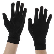 Los hombres y las mujeres de fibra de cobre la terapia de compresión de guantes mano artritis dolor de articulación de la mitad dedo terapia guantes 2 Estilo