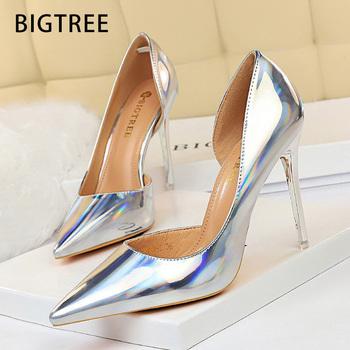 BIGTREE buty 2020 nowych kobiet pompy Sexy wysokie obcasy kobiet buty szpilki buty ślubne srebrne buty i zabawy kobiet obcasy kobiet tanie i dobre opinie Podstawowe Cienkie obcasy CN (pochodzenie) Patent leather Super Wysokiej (8cm-up) Pasuje prawda na wymiar weź swój normalny rozmiar