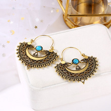 Hollow Design Vintage Ethnic Dangle Earrings For Women 2019 Gold Sliver 2 color Geometric Drop Earring Fashion Female Jewelry