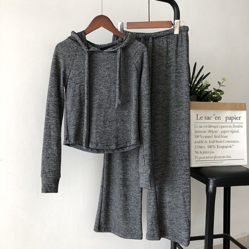X Autumn New Solid Color Casual Sports Women Sets Fashion Loose Hooded Top Wide Leg Pants 2 Pieces Sets Gray XXL