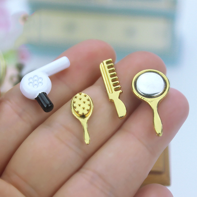 Wholesale 1:12 Dollhouse Miniature 4 Pcs Hair Dryer Comb Mirror Doll Accessories Toy For Forest Animal Family Collectible Gift