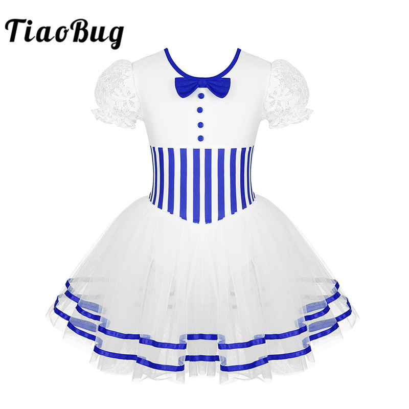 <font><b>TiaoBug</b></font> Kids Lace Short Sleeves Striped Mesh Tutu Ballet Figure Skating Dress Gymnastics Leotard Girls Performance Dance Costume image