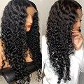 28 30 34 дюймов Волнистые 13x4 Синтетические волосы на кружеве парик человеческих волос парики глубоко вьющиеся синтетические волосы бесклеево...