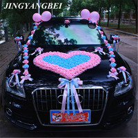 Wedding car decoration front flower set big love heart shaped flower wedding car team artificial flower decoration