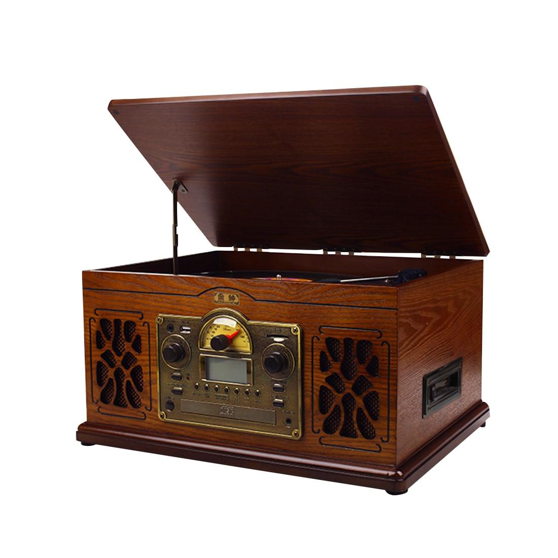 Lecteur de disque vinyle rétro bande Audio CD Bluetooth phonographe Vintage à l'ancienne-acajou prise américaine