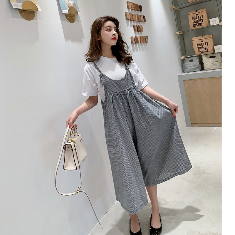 Summer Wear 2019 New Style Korean-style   Capri     Pants   Loose-Fit Suspender   Pants   Plaid   Pants   Casual   Pants   Women's + Short Sleeve T-