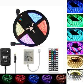 цена на 12V 5050 5M RGB RGBW RGBWW Neon LED Strip Light Waterproof Flexible IR Remote Controller RBG Tape Neon Light LED Strip 12V