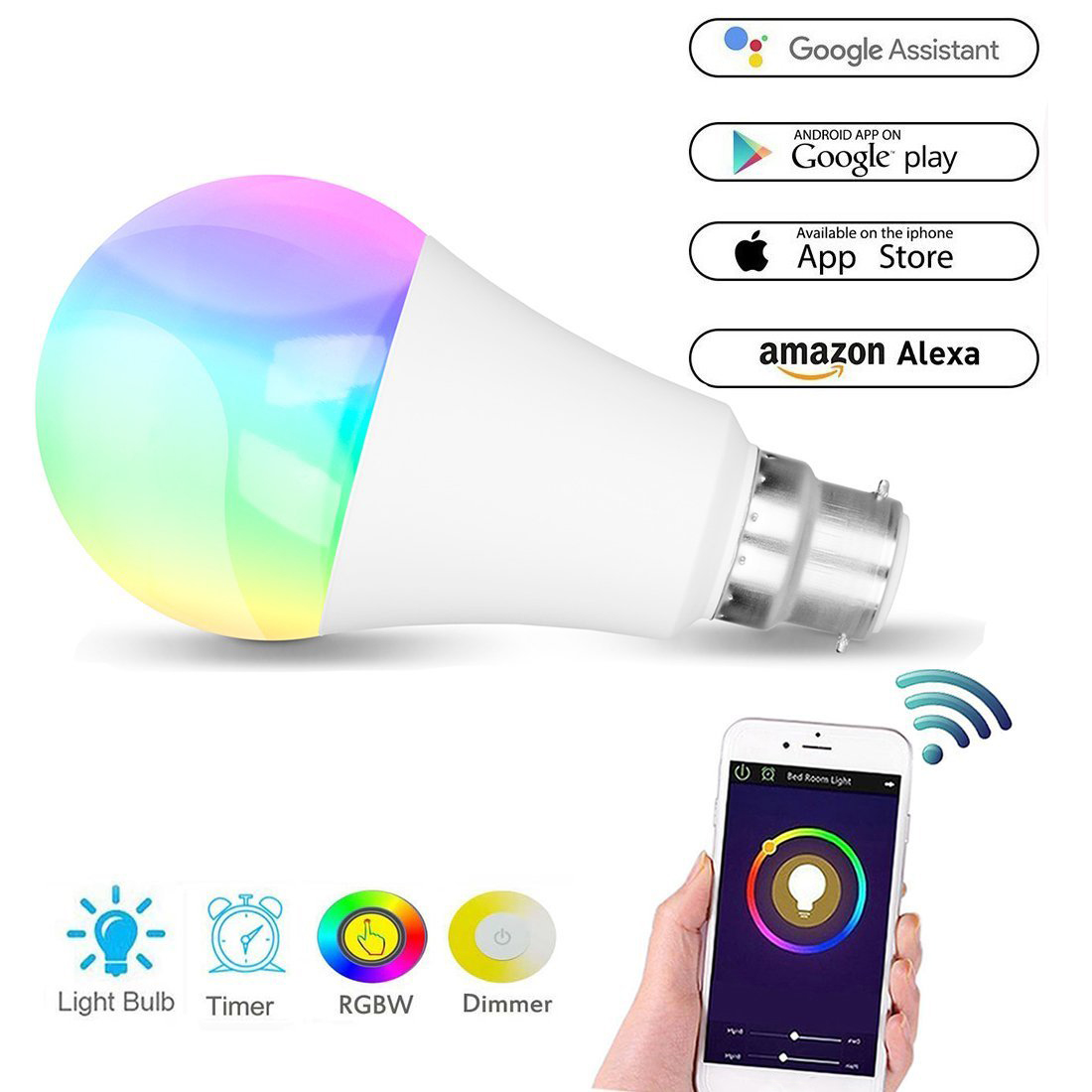 WiFi Smart Light Bulb 11W E27 B22 Magic RGBW LED Change Color Light Bulb Dimmable Compatible With Alexa And Google Assistant