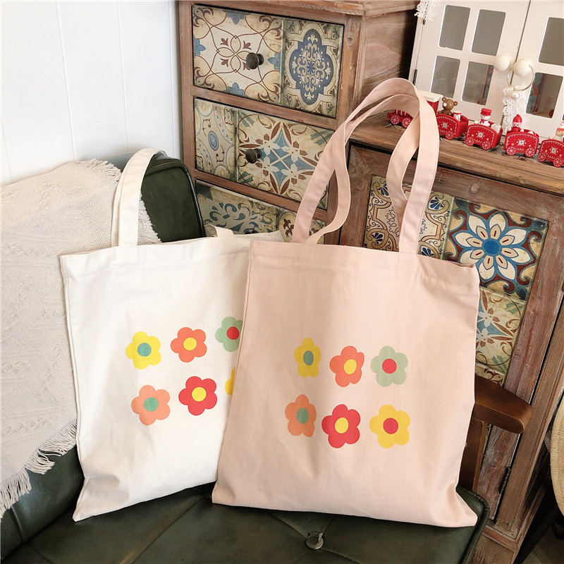 GABWE Reusable Cotton Shopping Bag Women Ins Bag Floral Canvas Tote Bags Printing Eco Grocery Bag Student Zipper Shoulder Bags