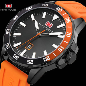 MINI FOCUS Army Military Sport Watch Men Quartz Clock Orange Rubber Strap Ocean Dial Date Display Fashion Creative Watches