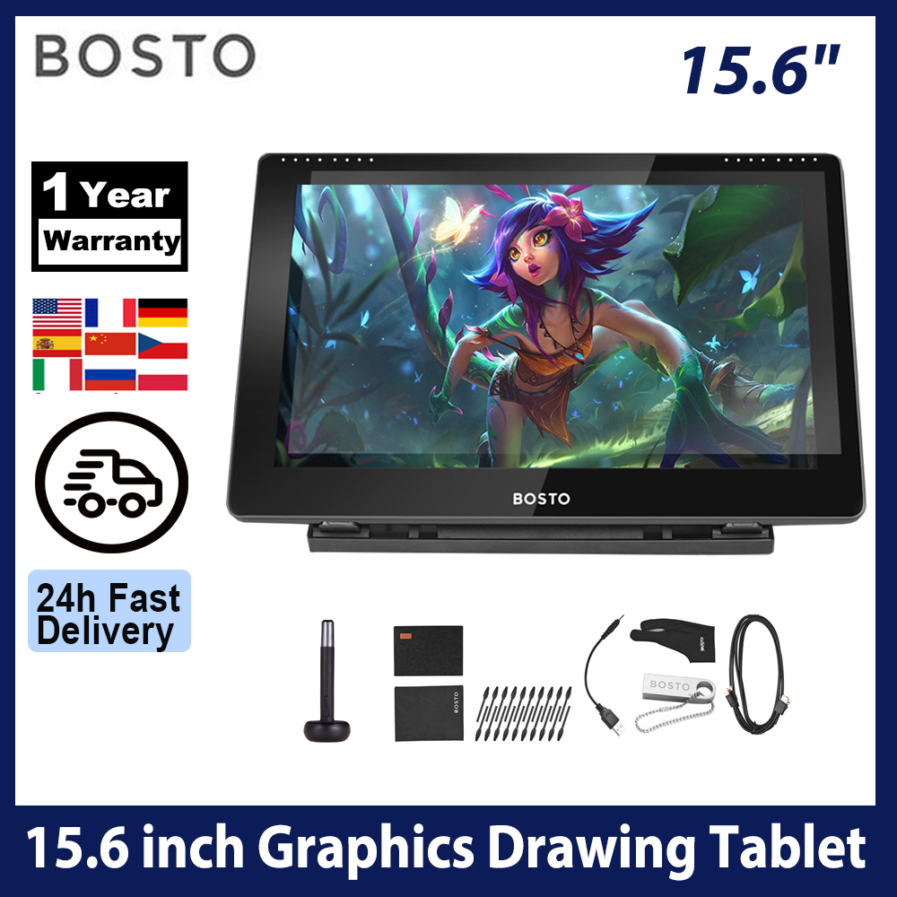 BOSTO 16HD IPS HD Graphics Drawing Digital Tablet Monitor Pen Display with 8 Shortcut Keys & 8192 levels Rechargeable Stylus Pen