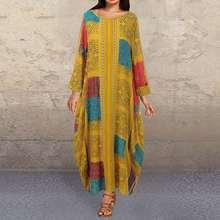 Plus Size Women's Summer Sundress 2020 ZANZEA Vintage Printed Maxi Dress Long Sleeve Tunic Vestidos Female Casual O Neck Robe