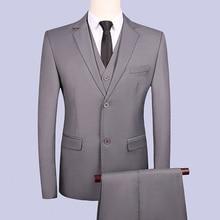 Wedding casual suit men Groom Tuxedos Men Suits Two Buttons for Groomsman (Jacket+Pants+vest) XZ46