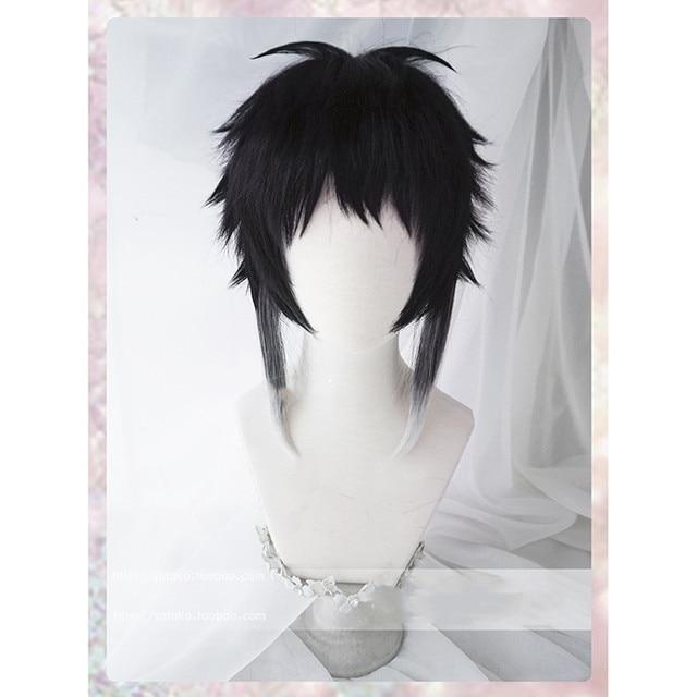 Anime Bungo Bungou Stray Dogs Ryunosuke Akutagawa Wig Short Black And White Heat Resistant Synthetic Hair Cosplay Wig + Wig Cap