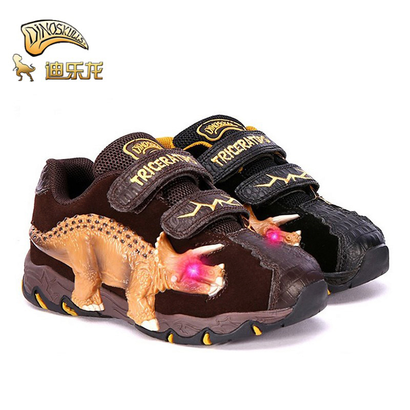 Dinoskulls Children Shoes Boys Dinosaur Glowing Sneakers Autumn Cow Suede 2019 Kids Led Light Fashion Rubber Outdoor Shoes 3-9T