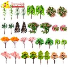 Surwish 57 шт. 4-15 см Sandboxie Модель деревья микро пейзаж Сад миниатюрные украшения микролендшафт обочина модель здания