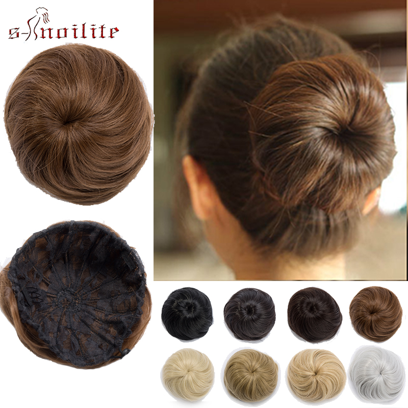 S-noilite Scrunchy Hair Bun Synthetic Updo Chignon Donut Chignon Drawstring Hairpieces Fake Hair Bun Hair Extensions