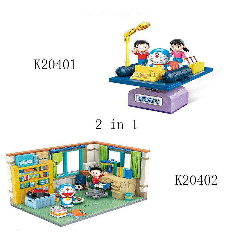 Assemble Bricks Doraemon Building-Blocks Educational-Toys Time-Machine Nobita Children