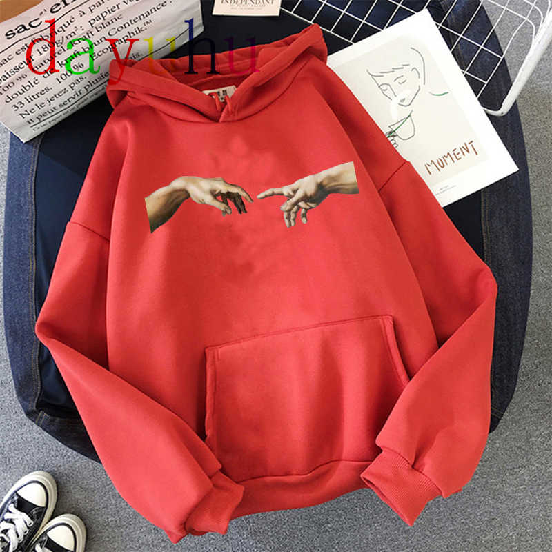Kawaii Womens Loose Streetwear 스웨터 후드 티 후드 빈티지 미켈란젤로 후드 오버 사이즈 풀오버 한국 스타일