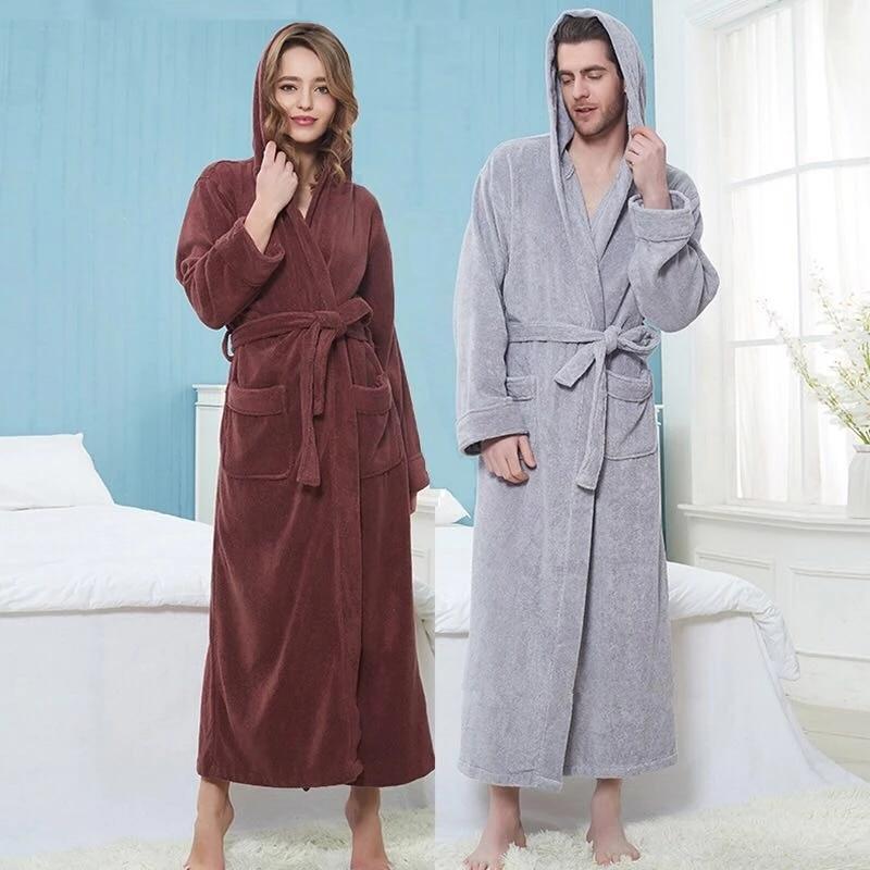 Winter Terry Bathrobe Women Mens Towel Robe Big and Tall Towel Bathrobe Male Terry Cloth Bath Robe Sleeping Kimono Dressing Gown