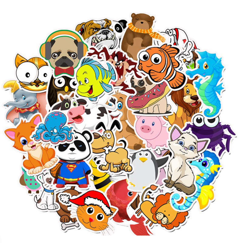 50pcs/lot Waterproof Super Cute Cartoon Animal Stickers For Laptop Refrigerator Decal Kids Gift Cat Pig Dog Computer Sticker