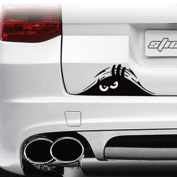 Big Black Eyes Peeping Monster Car Sticker Poster Removable Home Decor Mural Background image