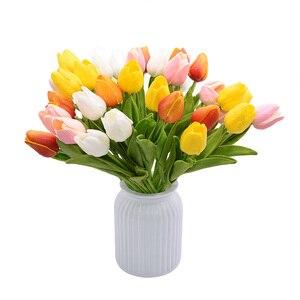 Image 5 - 30 chiếc Hoa Tulip Phối Màu Sắc Thực Cảm Ứng Cao Su Nhân Tạo Hoa cho Trang Trí Đám Cưới Nhà Đảng Trang Trí Bàn Tulip Hoa