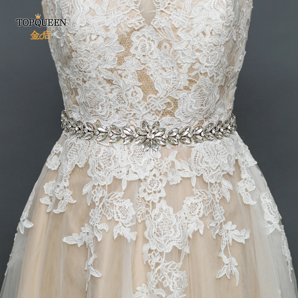 TOPQUEEN S389 Handmade Wedding Sash Belt  Elegant Bridal Belts Silver Rhinestone Diamond Belt Wedding Belt  Bridal Accessories