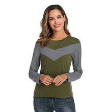2019 Cotton Blends Women's T-Shirt Autumn Winter Shirts New Long Sleeve Stripe Stitching T-shirts O Neck Casual Tops Ladies bold stripe cotton blends mens chest pocket shirt