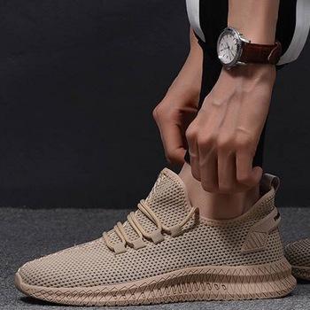 Oeak mężczyźni buty trampki płaskie męskie obuwie wygodne męskie obuwie oddychające siatki sportowe buty Tzapatos De Hombre tanie i dobre opinie Mesh (air mesh) Płytkie Stałe Dla dorosłych Wiosna jesień M146459 Lace-up Mieszkanie (≤1cm) Pasuje prawda na wymiar weź swój normalny rozmiar