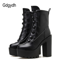 Gdgydh Frühling Herbst Plattform Stiefel Super High Heels Damen Stiefeletten Mit Zipper Platz Ferse Party Kleid Schuhe Punk Rabatt(China)