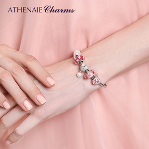 Image 5 - ATHENAIE 925 Sterling Silver Snake Chain With Pave Clear CZ Heart Clasp Bracelet Fit All European Charm Beads Valentine Jewelry