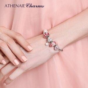 Image 5 - Athenaie 925 prata esterlina cobra corrente com pave claro cz coração fecho pulseira caber todos os grânulos charme europeu valenti jóias