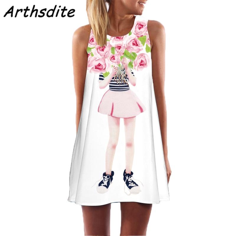 Arthsdite 2019 Women 39 s Dresses Summer Vintage Vestidos Women Boho 3D Floral Print Sleeveless Beach Short Mini Dress Feminine in Dresses from Women 39 s Clothing