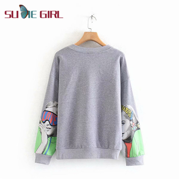SUDIE Girl Autumn and winter new loose fashion girl print round neck long sleeve Clothes without hats women trend winter star print round neck women pullover tee long sleeve loose clothes women