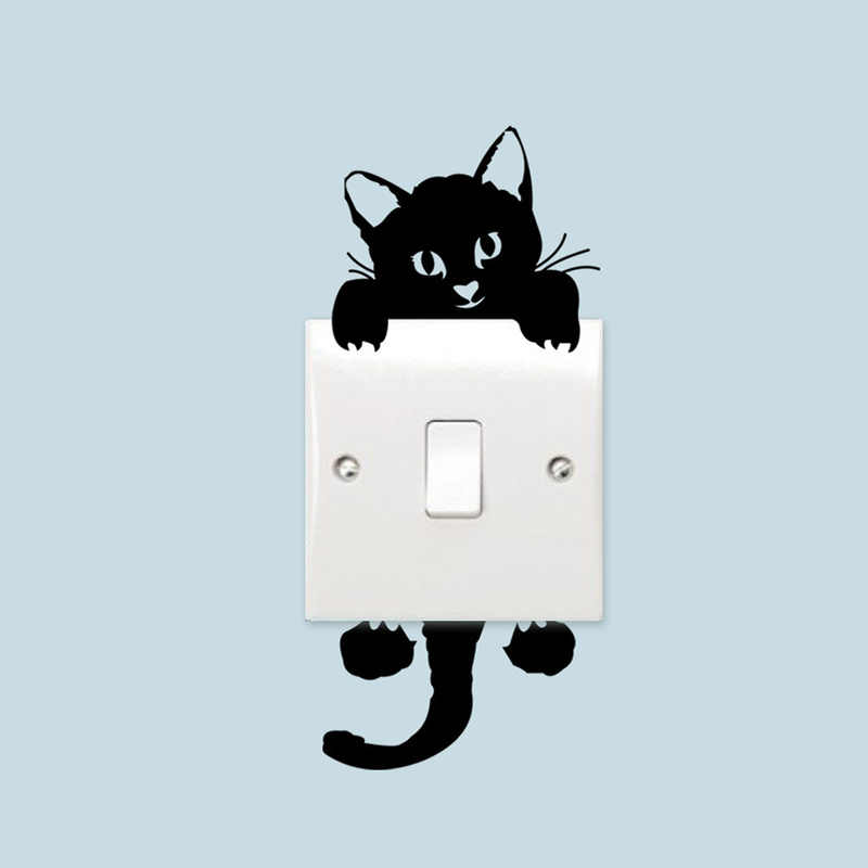 素敵な猫ライトスイッチ電話キッズルームの壁のステッカー diy の家の装飾漫画の動物の壁ステッカー pvc 壁画アートキッチン